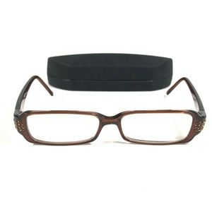 Fendi F622R 200 Brown Bedazzled Rectangular Frames
